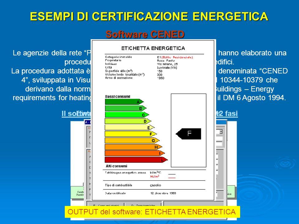 ESEMPI DI CERTIFICAZIONE ENERGETICA Software CENED Le agenzie della rete Punti Energia della regione Lombardia hanno elaborato una procedura per latte