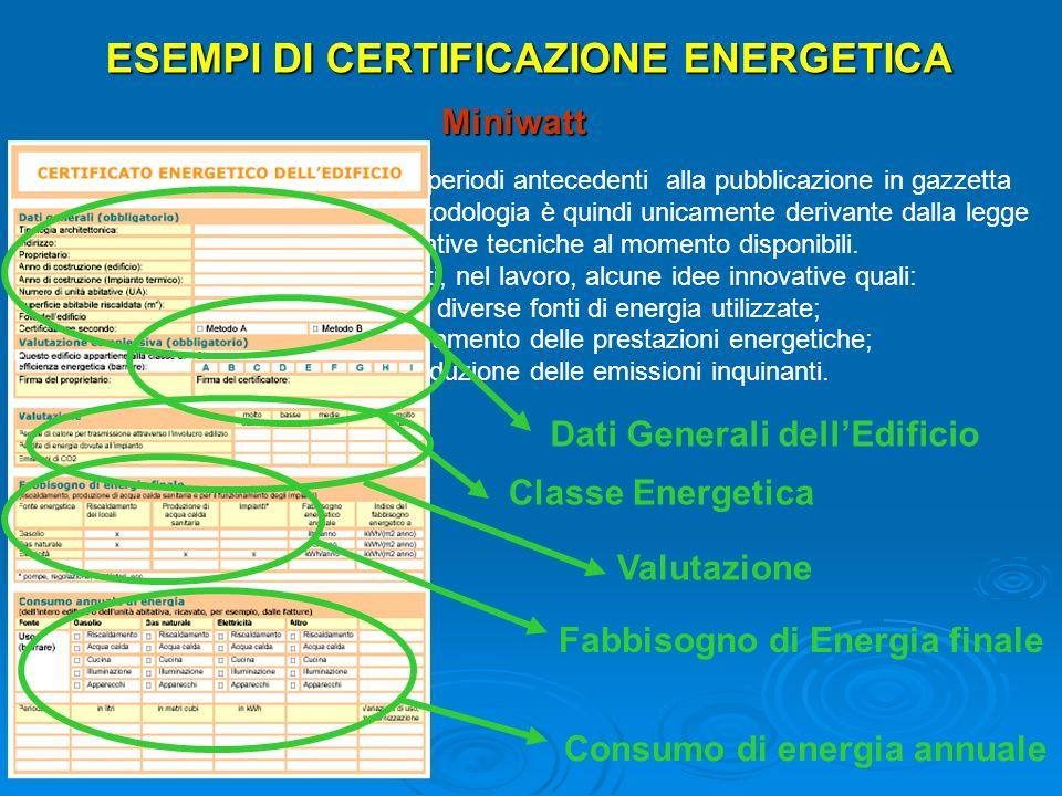 ESEMPI DI CERTIFICAZIONE ENERGETICA Miniwatt Il certificato è stato elaborato in periodi antecedenti alla pubblicazione in gazzetta della direttiva 20
