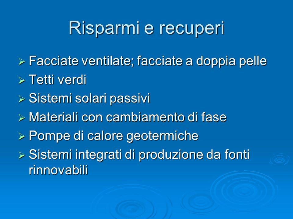 Risparmi e recuperi Facciate ventilate; facciate a doppia pelle Facciate ventilate; facciate a doppia pelle Tetti verdi Tetti verdi Sistemi solari pas