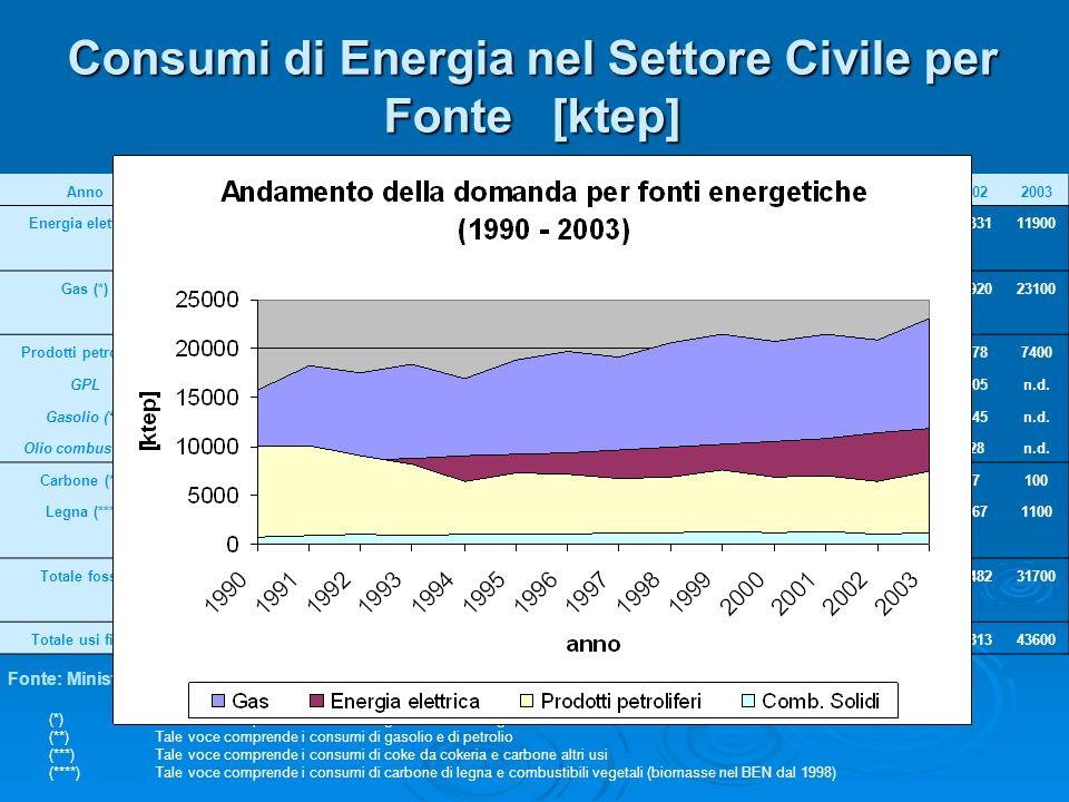 Consumi di Energia nel Settore Civile per Fonte [ktep] Anno19901991199219931994199519961997199819992000200120022003 Energia elettrica79768356865688379