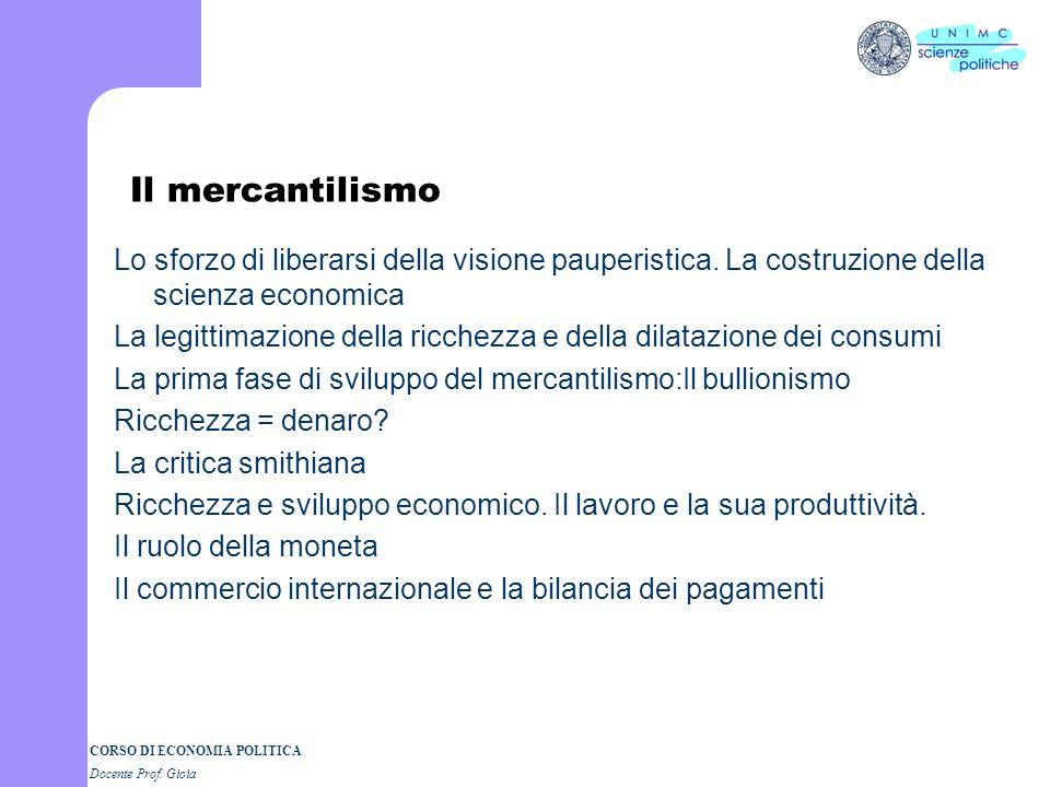 CORSO DI ECONOMIA POLITICA Docente Prof. Gioia Francesco Bacone (1561-1626) La vecchia scienza e il mondo nuovo Scienza e meccanica: lutilità della sc