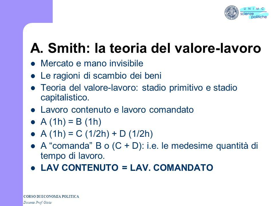 CORSO DI ECONOMIA POLITICA Docente Prof. Gioia Adam Smith e la Ricchezza delle Nazioni Inquiry into the Nature and the Causes of the Wealth of Nations