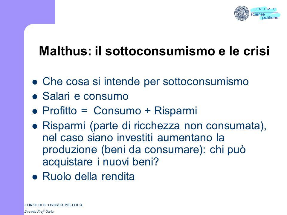 CORSO DI ECONOMIA POLITICA Docente Prof. Gioia LA LEGGE DEGLI SBOCCHI (SAY) O = D Y = reddito sociale; C = consumo; S= risparmio DA = C + I (domanda a