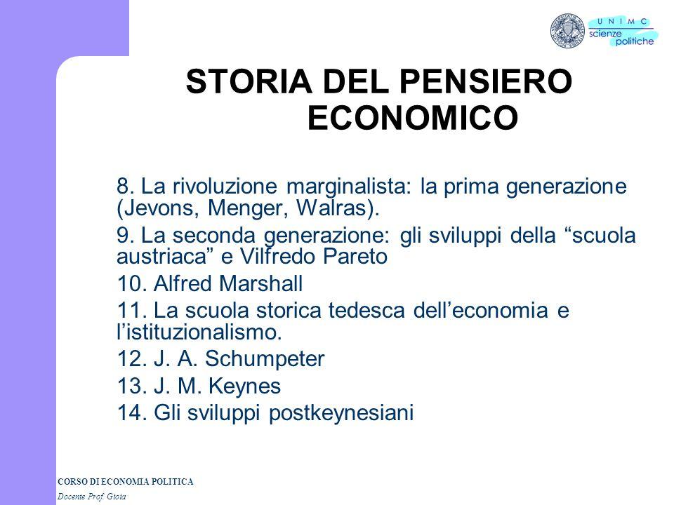 CORSO DI ECONOMIA POLITICA Docente Prof. Gioia STORIA DEL PENSIERO ECONOMICO 1. Che cosè la storia del pensiero economico? 2. Il mercantilismo: la nuo