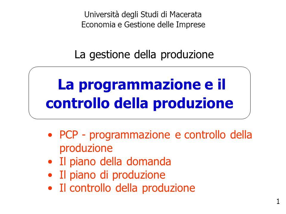 1 La programmazione e il controllo della produzione Università degli Studi di Macerata Economia e Gestione delle Imprese La gestione della produzione