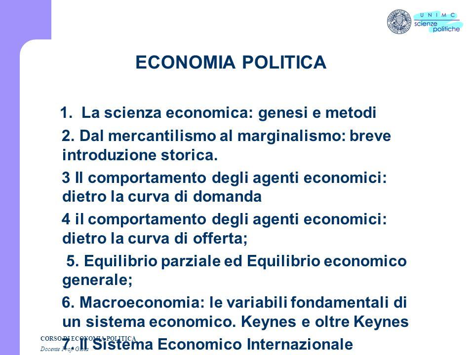 CORSO DI ECONOMIA POLITICA Docente Prof. GIOIA Lezione n. 1 I SEMESTRE A.A. 2007-2008
