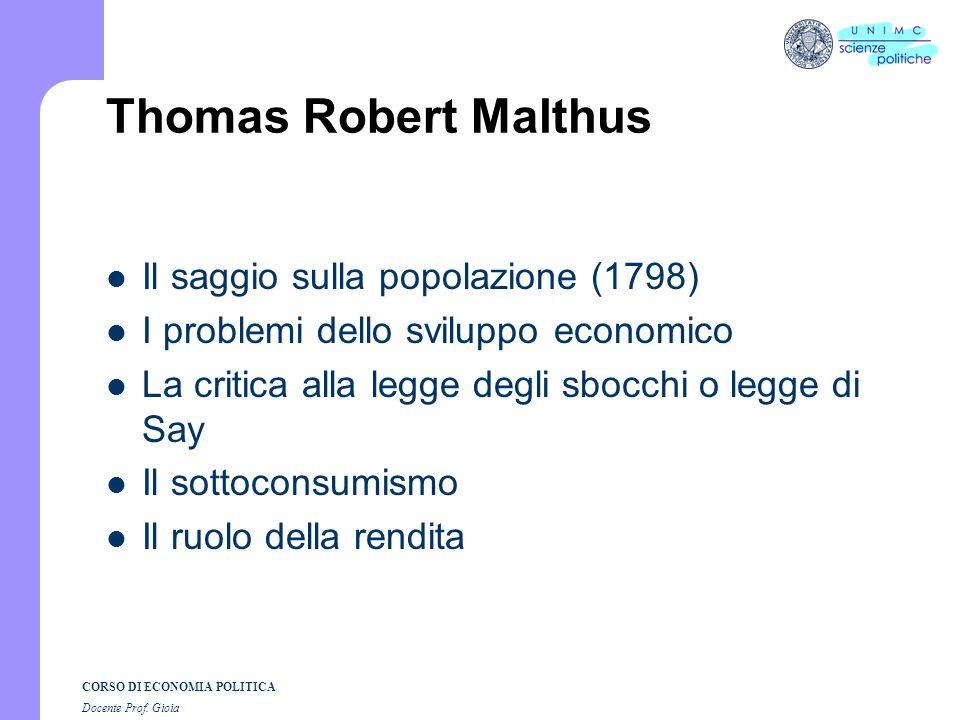 CORSO DI ECONOMIA POLITICA Docente Prof. Gioia Rendimenti decrescenti in economia
