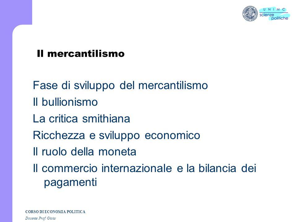 CORSO DI ECONOMIA POLITICA Docente Prof. Gioia Dal mercantilismo al marginalismo: breve introduzione storica. Il mercantilismo La fisiocrazia Leconomi