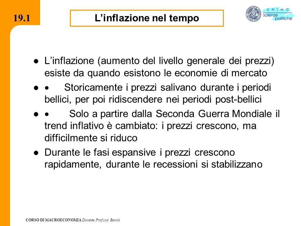 CORSO DI MACROECONOMIA Docente Prof.ssa Bevolo 19.1 Linflazione (aumento del livello generale dei prezzi) esiste da quando esistono le economie di mer