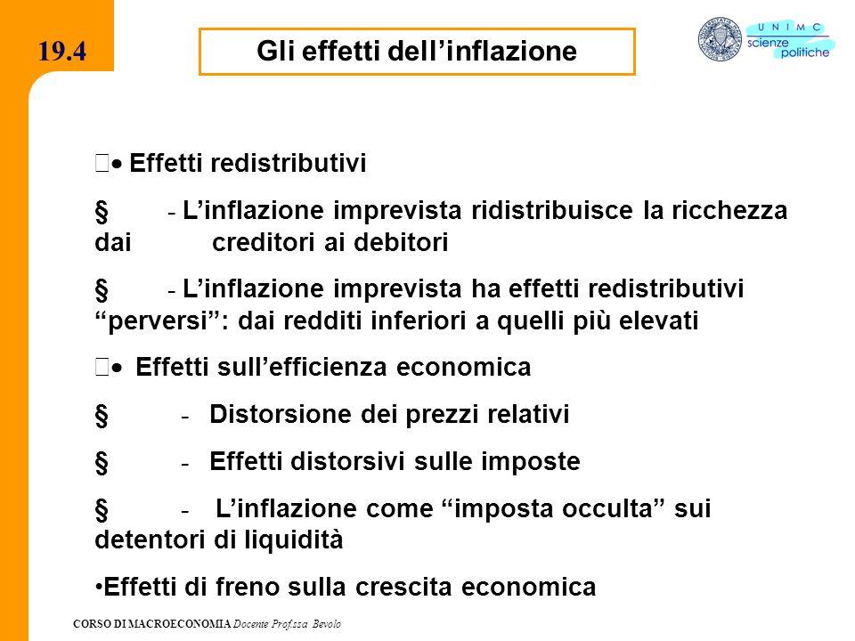 CORSO DI MACROECONOMIA Docente Prof.ssa Bevolo 19.4 Gli effetti dellinflazione Effetti redistributivi - Linflazione imprevista ridistribuisce la ricch