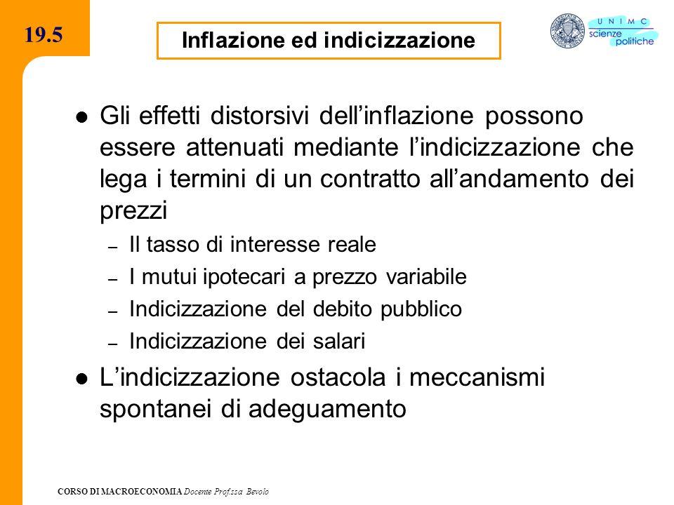 CORSO DI MACROECONOMIA Docente Prof.ssa Bevolo 19.5 Gli effetti distorsivi dellinflazione possono essere attenuati mediante lindicizzazione che lega i