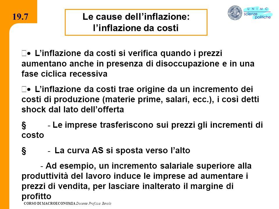 CORSO DI MACROECONOMIA Docente Prof.ssa Bevolo 19.7 Le cause dellinflazione: linflazione da costi Linflazione da costi si verifica quando i prezzi aum