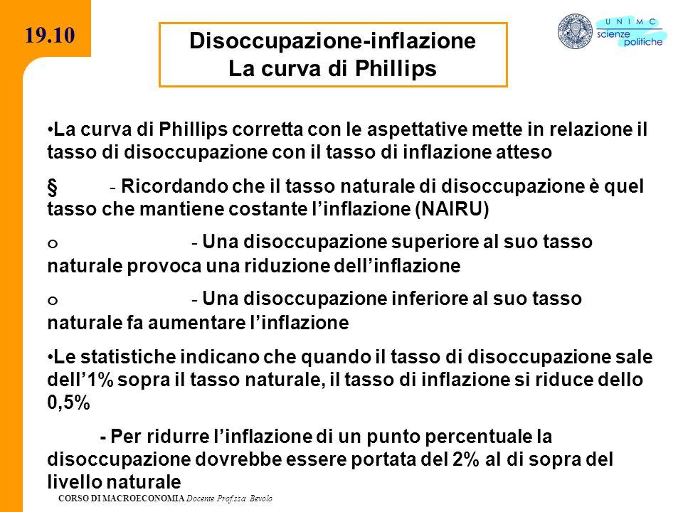 CORSO DI MACROECONOMIA Docente Prof.ssa Bevolo 19.10 Disoccupazione-inflazione La curva di Phillips La curva di Phillips corretta con le aspettative m