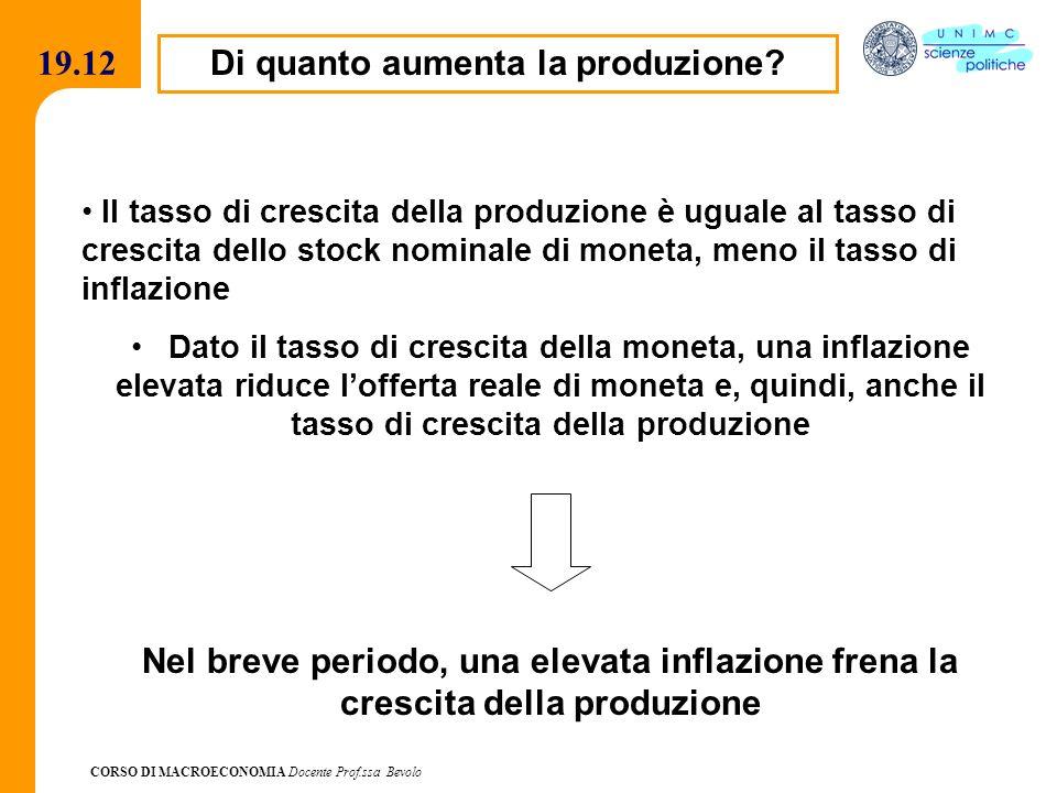 CORSO DI MACROECONOMIA Docente Prof.ssa Bevolo 19.12 Di quanto aumenta la produzione? Il tasso di crescita della produzione è uguale al tasso di cresc