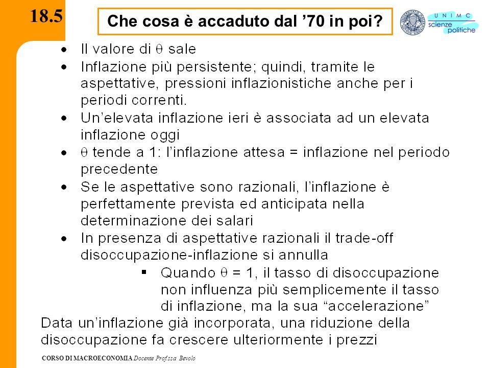 CORSO DI MACROECONOMIA Docente Prof.ssa Bevolo 18.5 Che cosa è accaduto dal 70 in poi?