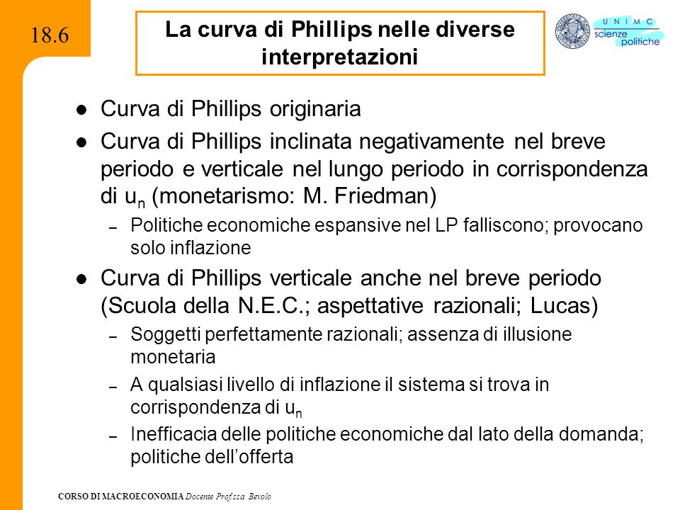 CORSO DI MACROECONOMIA Docente Prof.ssa Bevolo 18.6 Curva di Phillips originaria Curva di Phillips inclinata negativamente nel breve periodo e vertica