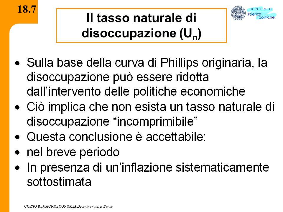 CORSO DI MACROECONOMIA Docente Prof.ssa Bevolo 18.7 Il tasso naturale di disoccupazione (U n )