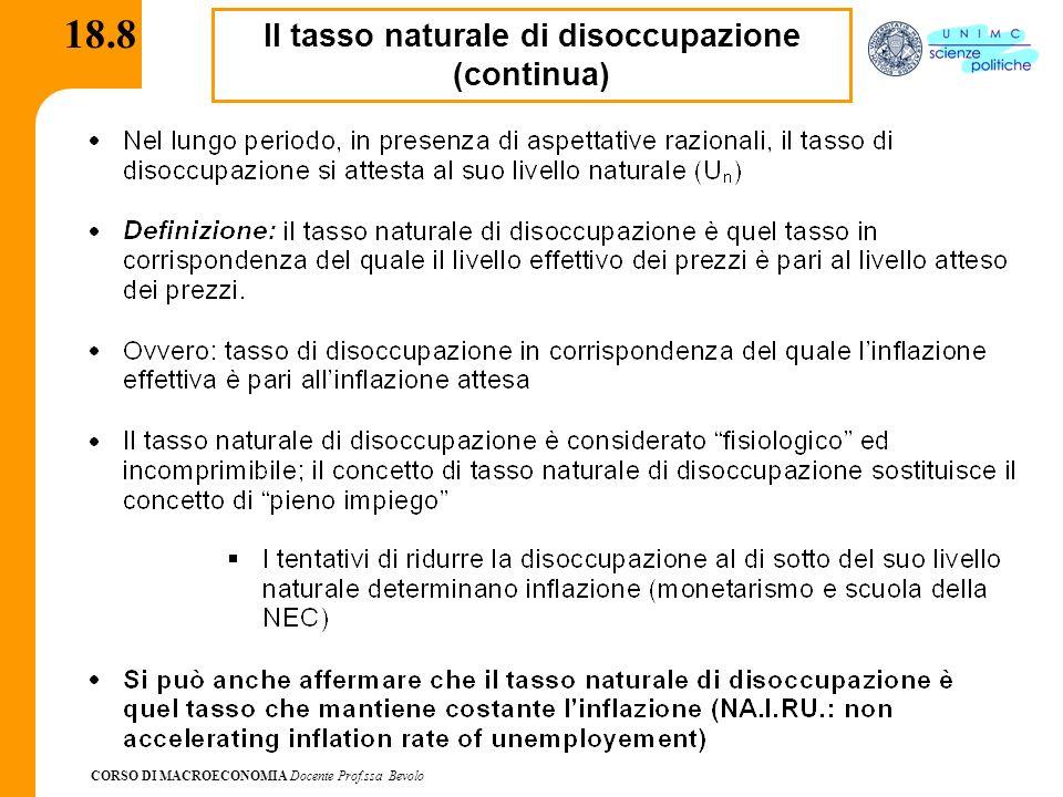 CORSO DI MACROECONOMIA Docente Prof.ssa Bevolo 18.8 Il tasso naturale di disoccupazione (continua)