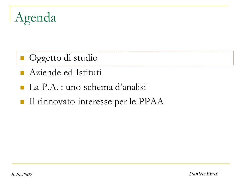 8-10-2007 Daniele Binci Agenda Oggetto di studio Aziende e Istituti La P.A.