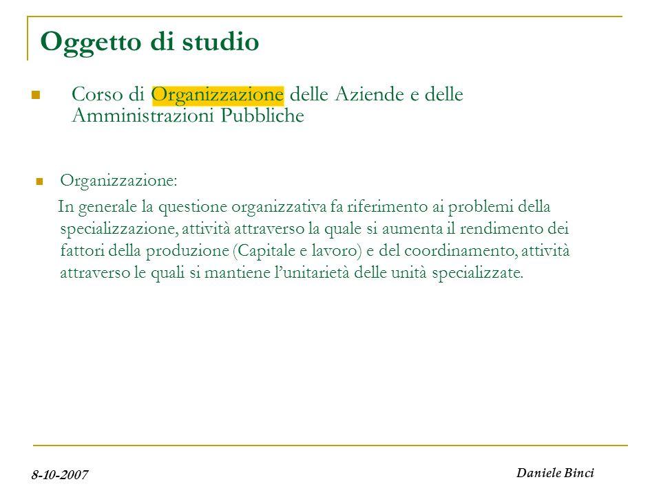 8-10-2007 Daniele Binci Oggetto di studio E una attività accezione funzionale; E un insieme di enti o istituti accezione strutturale; E caratterizzata da un fine accezione istituzionale.