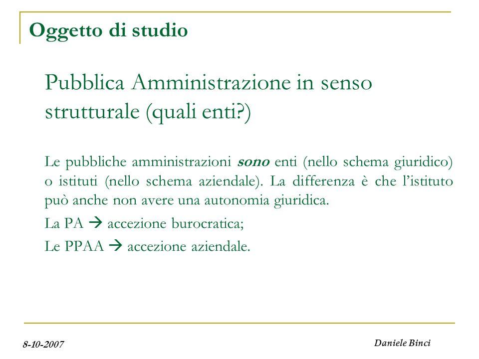 8-10-2007 Daniele Binci Agenda Oggetto di studio Aziende ed Istituti La P.A.