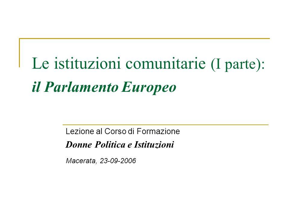 Le istituzioni comunitarie (I parte): il Parlamento Europeo Lezione al Corso di Formazione Donne Politica e Istituzioni Macerata, 23-09-2006