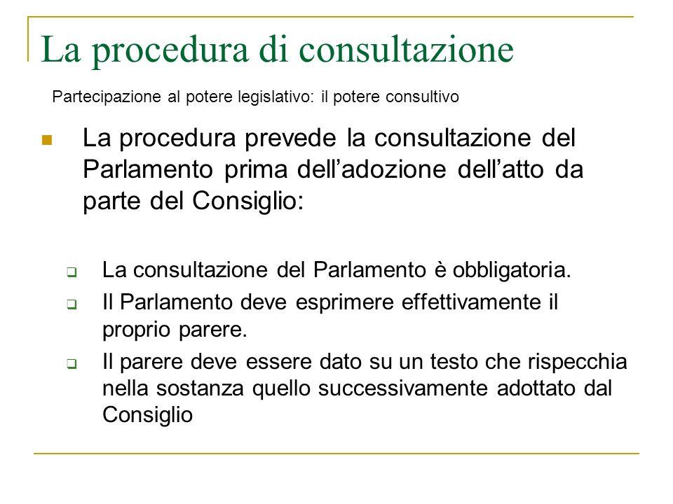 La procedura di consultazione La procedura prevede la consultazione del Parlamento prima delladozione dellatto da parte del Consiglio: La consultazione del Parlamento è obbligatoria.