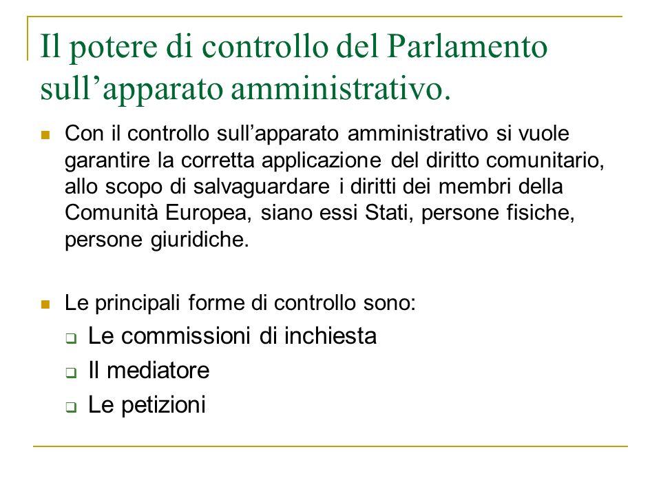 Il potere di controllo del Parlamento sullapparato amministrativo.