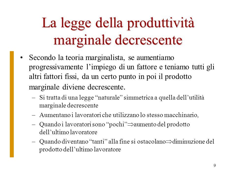 8 Prodotto medio e prodotto marginale prodotto medio (pme) di un fattore (es. il lavoro) il rapporto tra loutput e la quantità del fattore in question
