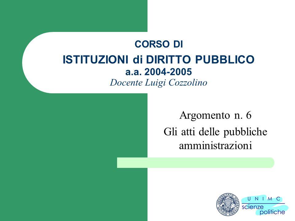 CORSO DI ISTITUZIONI di DIRITTO PUBBLICO a.a. 2004-2005 Docente Luigi Cozzolino Argomento n.