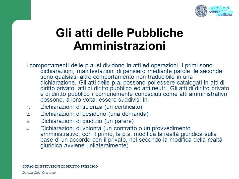 CORSO DI ISTITUZIONI DI DIRITTO PUBBLICO Docente Luigi Cozzolino Gli atti delle Pubbliche Amministrazioni I comportamenti delle p.a.