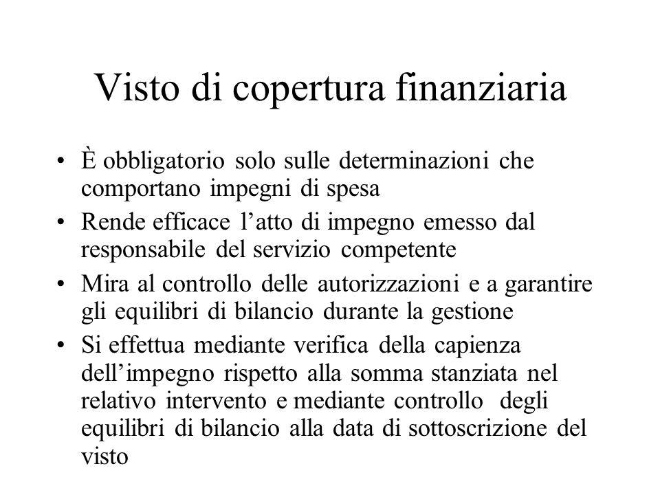 Visto di copertura finanziaria È obbligatorio solo sulle determinazioni che comportano impegni di spesa Rende efficace latto di impegno emesso dal res
