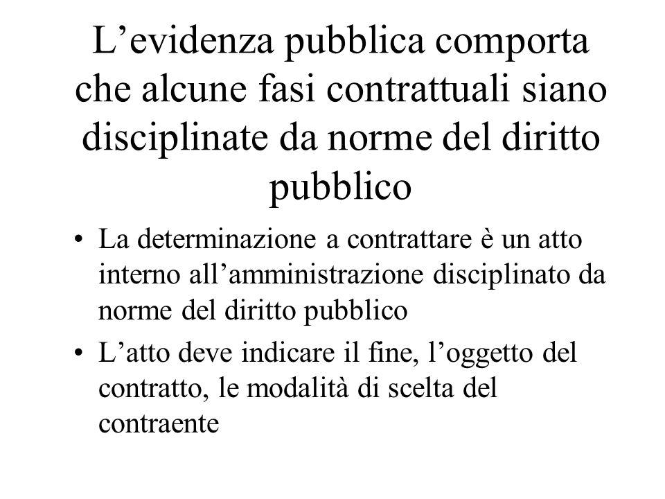 Levidenza pubblica comporta che alcune fasi contrattuali siano disciplinate da norme del diritto pubblico La determinazione a contrattare è un atto in