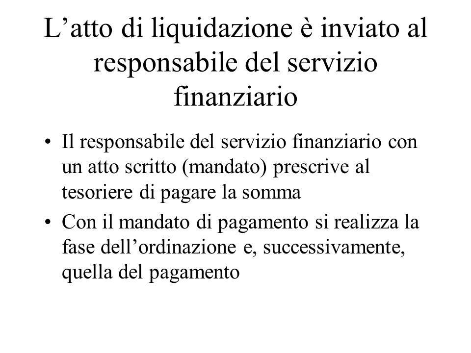 Latto di liquidazione è inviato al responsabile del servizio finanziario Il responsabile del servizio finanziario con un atto scritto (mandato) prescr