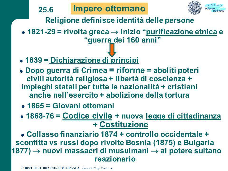 CORSO DI STORIA CONTEMPORANEA Docente Prof.Ventrone 25.7 Congr.