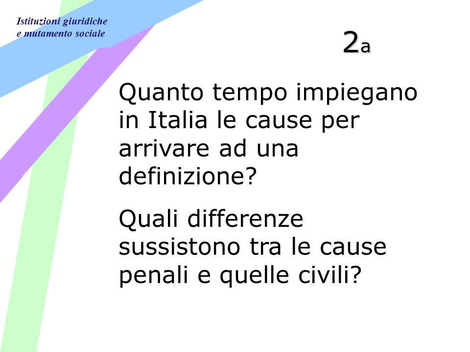 Istituzioni giuridiche e mutamento sociale 2a2a2a2a Quanto tempo impiegano in Italia le cause per arrivare ad una definizione.