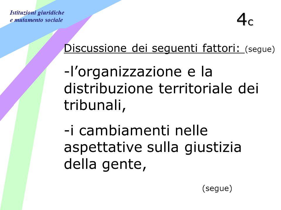 Istituzioni giuridiche e mutamento sociale 4c4c4c4c Discussione dei seguenti fattori: (segue) -lorganizzazione e la distribuzione territoriale dei tribunali, -i cambiamenti nelle aspettative sulla giustizia della gente, (segue)