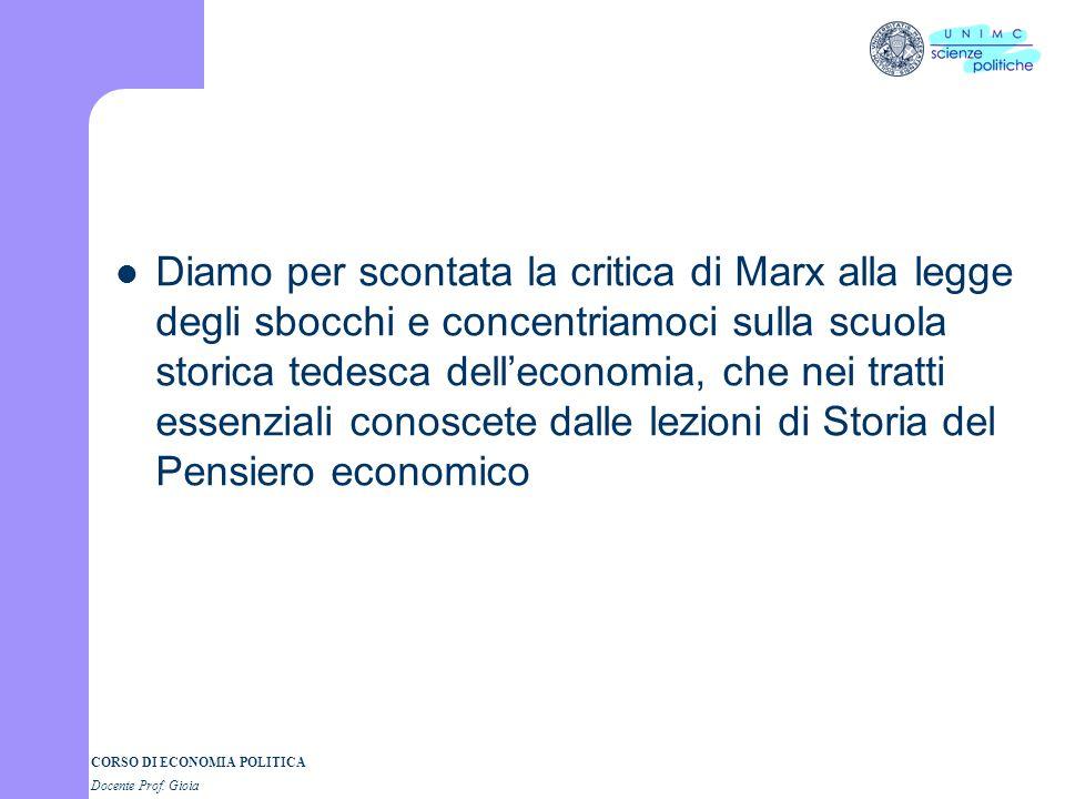 CORSO DI ECONOMIA POLITICA Docente Prof. Gioia