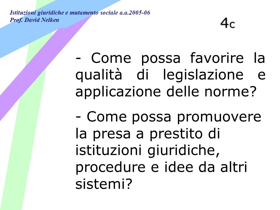 Istituzioni giuridiche e mutamento sociale a.a.2005-06 Prof. David Nelken 4c4c4c4c - Come possa favorire la qualità di legislazione e applicazione del