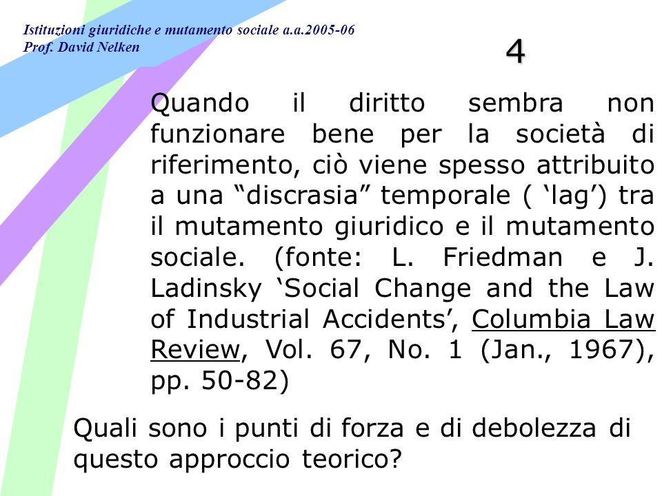 Istituzioni giuridiche e mutamento sociale a.a.2005-06 Prof. David Nelken 4 Quando il diritto sembra non funzionare bene per la società di riferimento