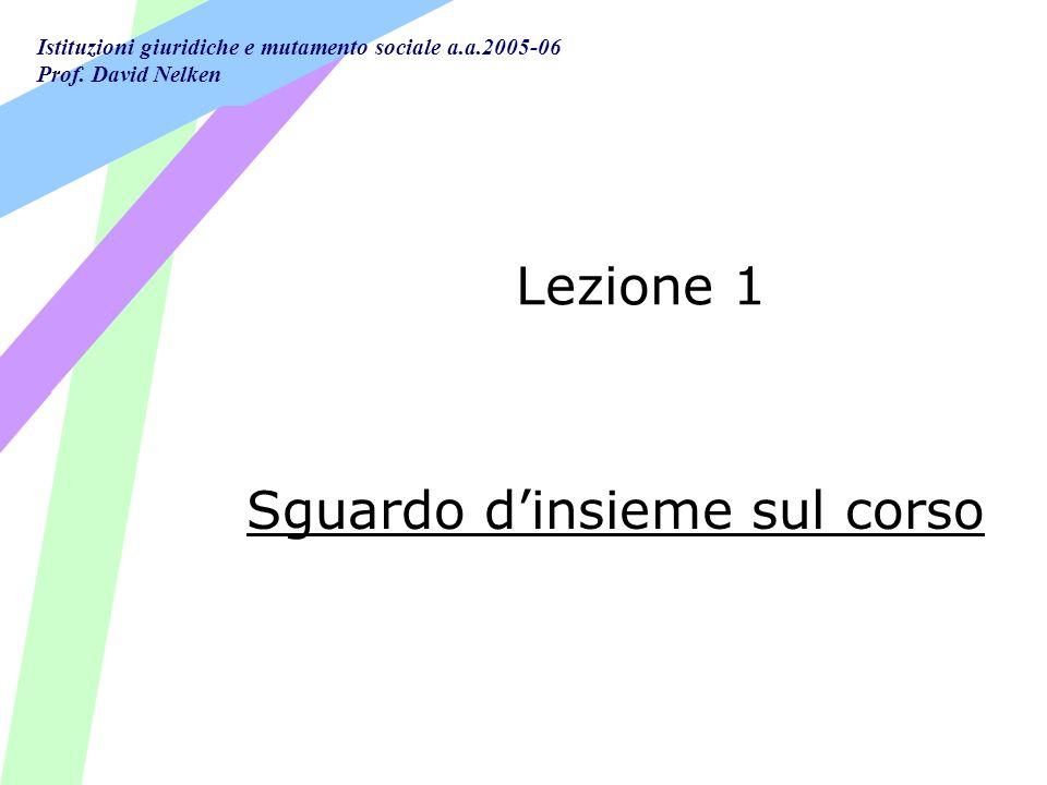 Istituzioni giuridiche e mutamento sociale a.a.2005-06 Prof. David Nelken Lezione 1 Sguardo dinsieme sul corso