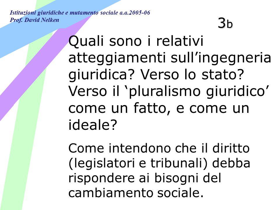 Istituzioni giuridiche e mutamento sociale a.a.2005-06 Prof. David Nelken 3b3b3b3b Quali sono i relativi atteggiamenti sullingegneria giuridica? Verso