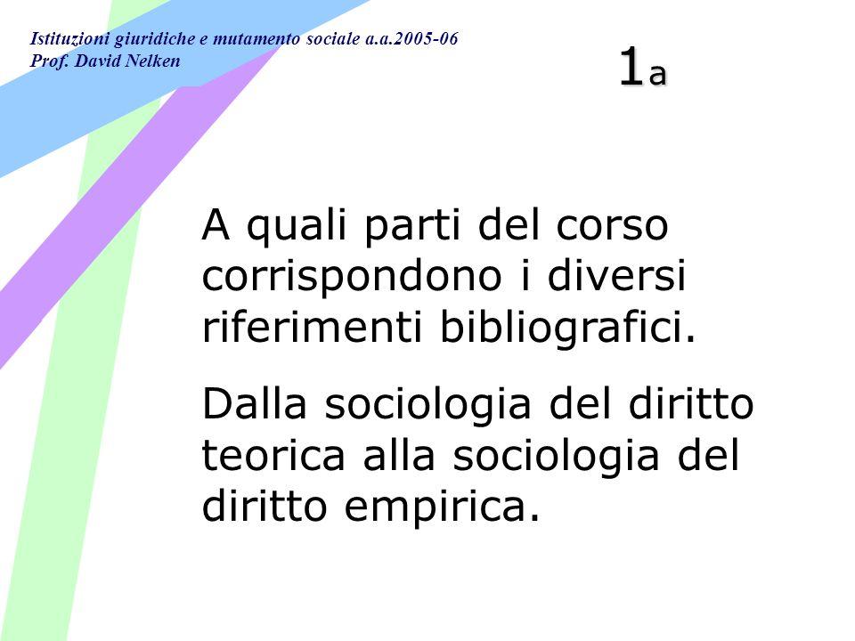 Istituzioni giuridiche e mutamento sociale a.a.2005-06 Prof. David Nelken 1a1a1a1a A quali parti del corso corrispondono i diversi riferimenti bibliog