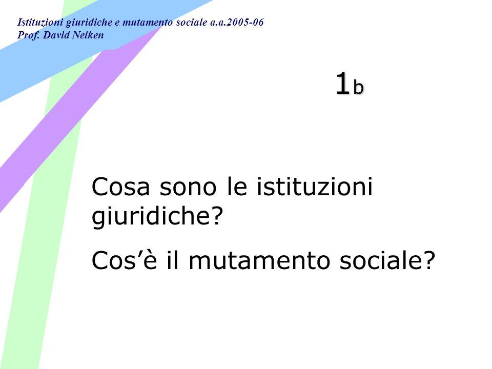 Istituzioni giuridiche e mutamento sociale a.a.2005-06 Prof. David Nelken 1b1b1b1b Cosa sono le istituzioni giuridiche? Cosè il mutamento sociale?