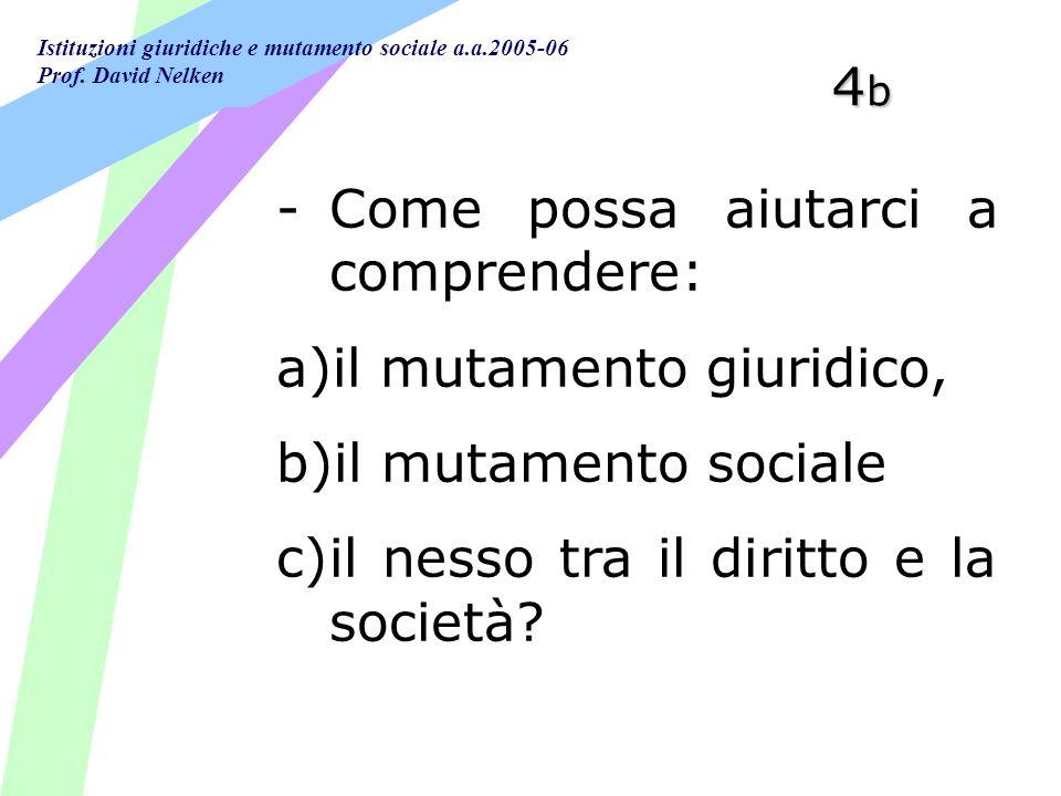 Istituzioni giuridiche e mutamento sociale a.a.2005-06 Prof. David Nelken 4b4b4b4b -Come possa aiutarci a comprendere: a)il mutamento giuridico, b)il