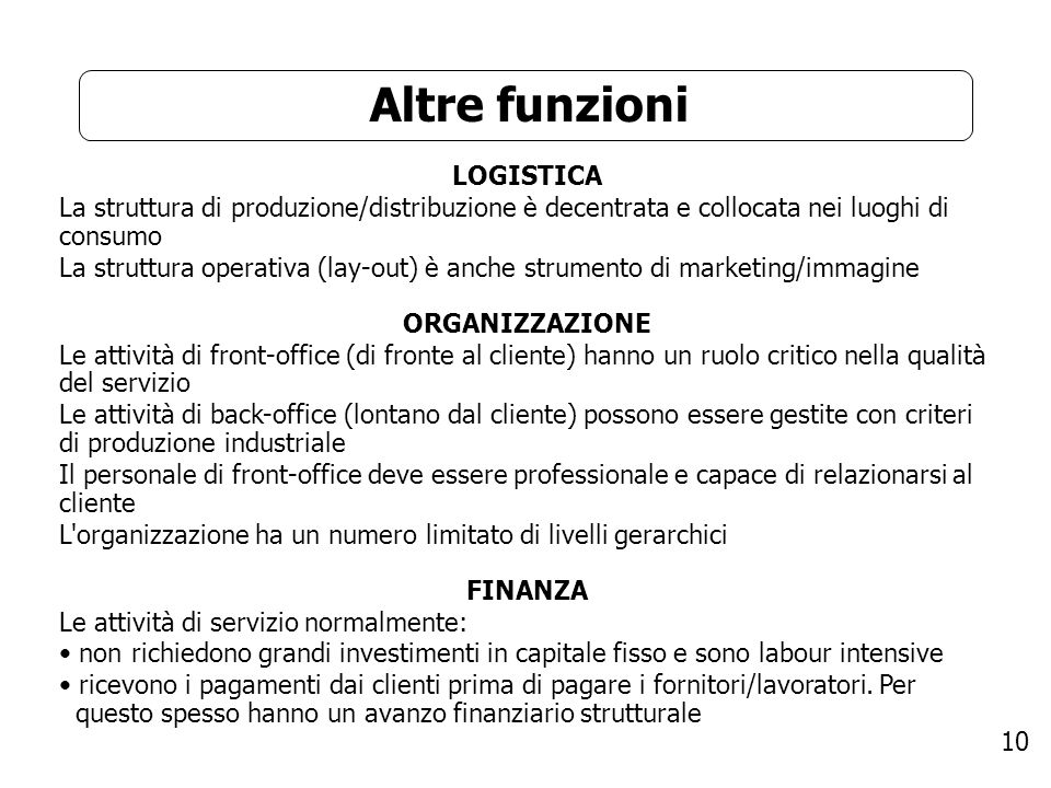 10 Altre funzioni LOGISTICA La struttura di produzione/distribuzione è decentrata e collocata nei luoghi di consumo La struttura operativa (lay-out) è