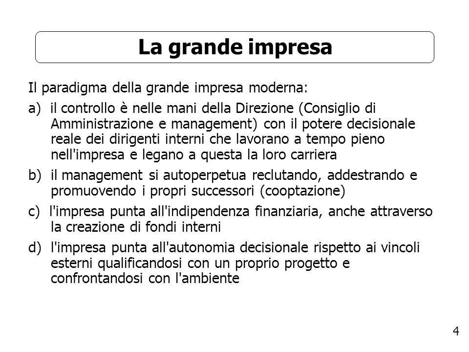 4 La grande impresa Il paradigma della grande impresa moderna: a) il controllo è nelle mani della Direzione (Consiglio di Amministrazione e management