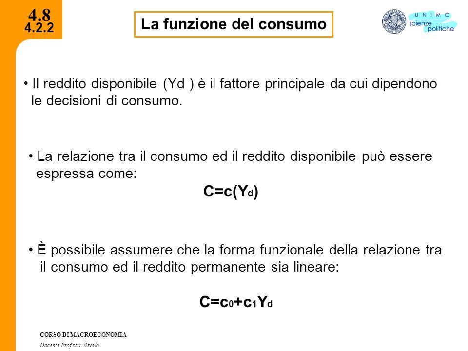 4.2.2 CORSO DI MACROECONOMIA Docente Prof.ssa Bevolo 4.8 La funzione del consumo Il reddito disponibile (Yd ) è il fattore principale da cui dipendono