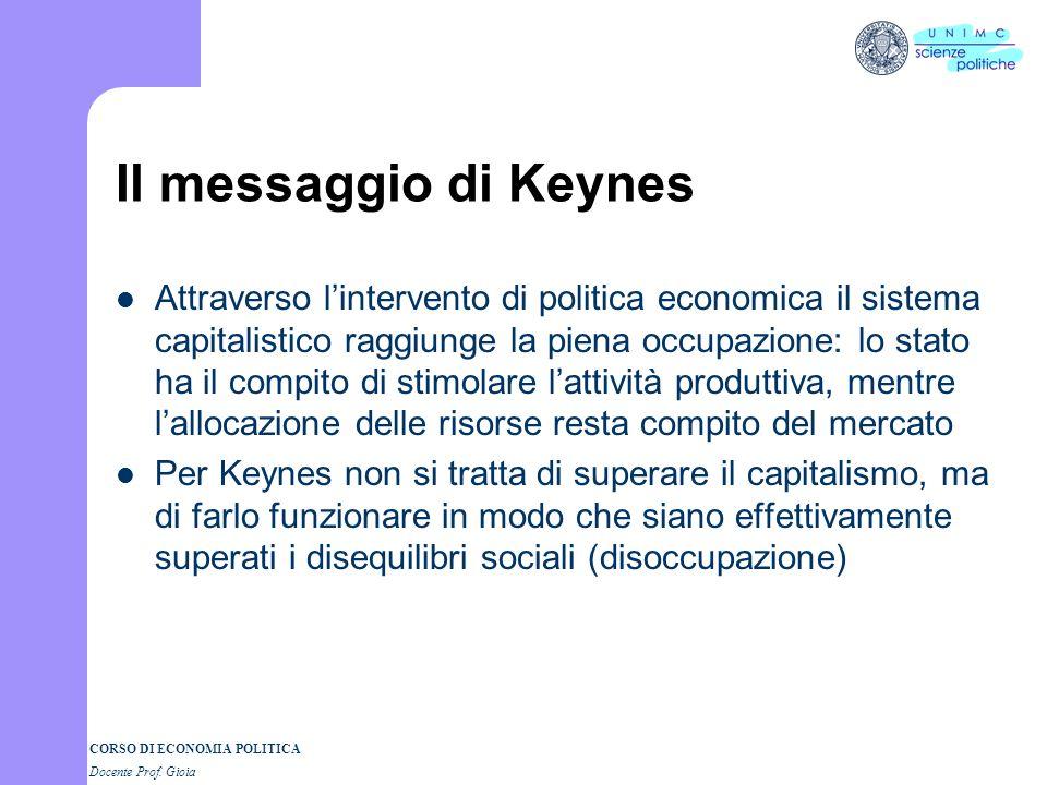 CORSO DI ECONOMIA POLITICA Docente Prof. Gioia Il messaggio di Keynes Attraverso lintervento di politica economica il sistema capitalistico raggiunge