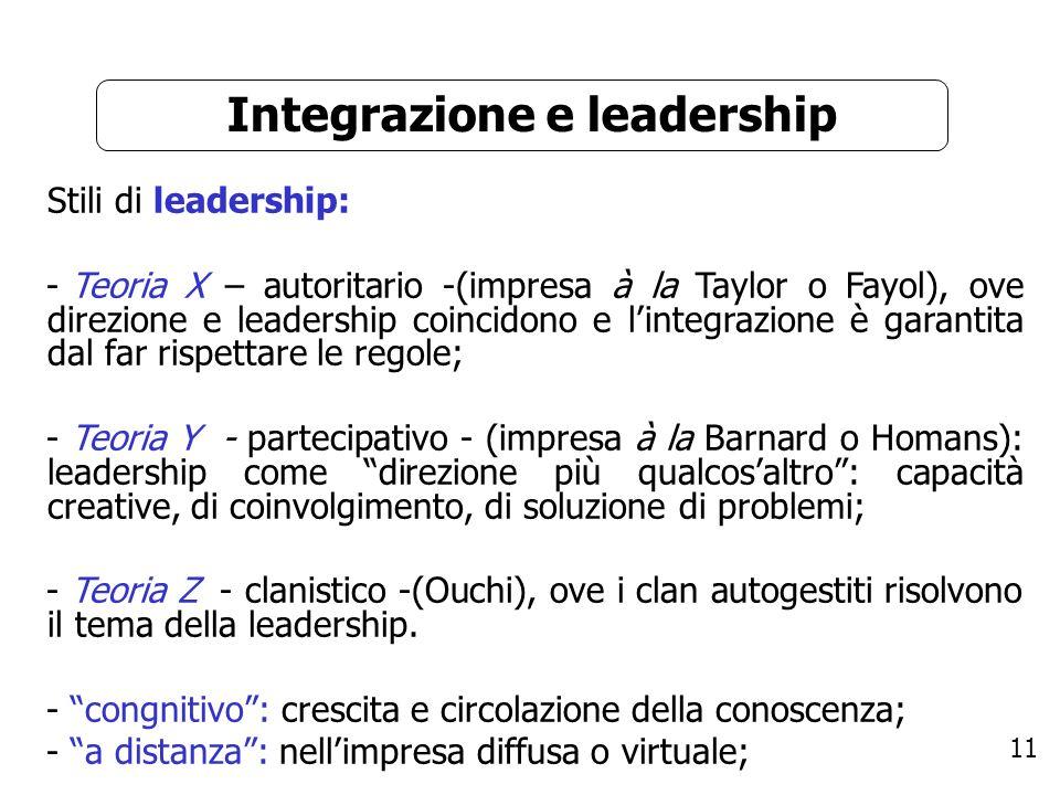 11 Integrazione e leadership Stili di leadership: - Teoria X – autoritario -(impresa à la Taylor o Fayol), ove direzione e leadership coincidono e lin